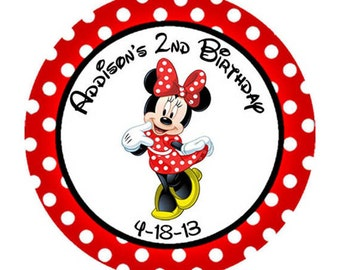 Minnie Mouse red polka dot Birthday round sticker label