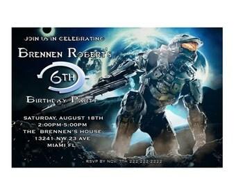 Halo Custom Birthday Invitation - printable or Printed