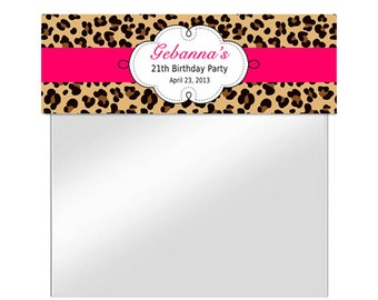 PRINTABLE - pink cheetah Animal print - leopard Treat Bag Toppers