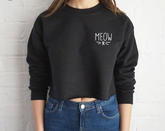 Meow Crop Sweater Jumper Sweatshirt Cropped Grunge Cute Cat Kitten Slogan