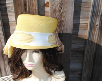 Vintage Millinery Polypropylene Yellow  hat by Evelyn Varon