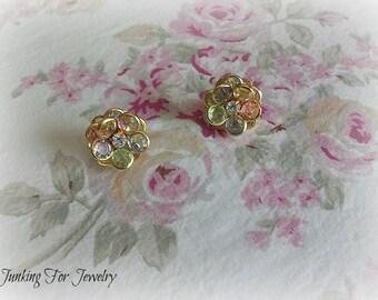 Vintage Avon Pastel Floral Earrings