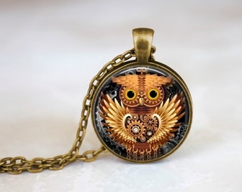 Gold Owl - Steampunk Handmade Pendant Necklace