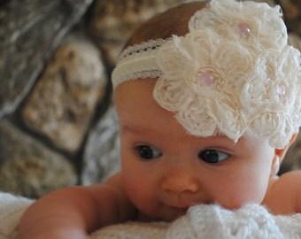 Baby Headband, Hollywood Headband, Shabby-chic, Vintage Headband, Newborn Headband, Photo Shoot, Ivory Headband Girl Headband Pearl Headband