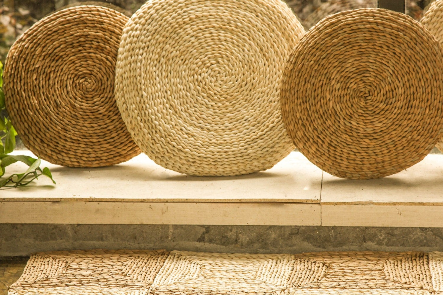 Round Straw Floor Pillows : Rustic floor cushions/ Floor pouf/throw pillow/Pouf
