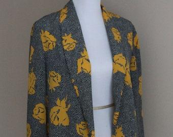 80s Black/Yellow Graphic Print Jacket