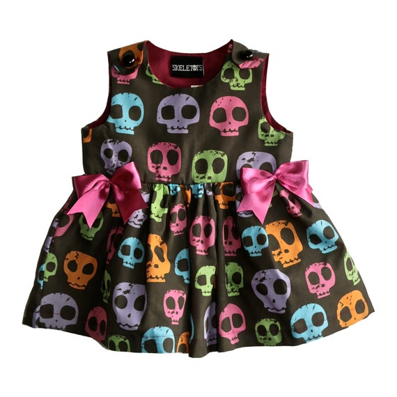Skeletots Multi Skull Dress Alternative Baby Wear Goth Rock Punk Metal 0-6m-24m