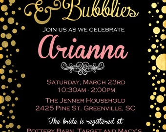 Gold Foil Brunch and Bubblies Shower Invite