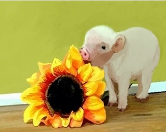 Print from the watercolor original: Piggy with a Sunflower, sunflower decor, wall art, art collectables