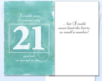 21 Reasons, 21 today card, 21st greeting card, 21st birthday card, 21st celebration, 21st gift card, 21 card, birthday 21, celebrate 21, 21