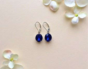 Blue Crystal Earrings, Sapphire Blue Earrings, Oval Earrings, Bridesmaid Gift, Wedding Jewelry, Bridesmaid Earrings, Gifts For Her, Earrings