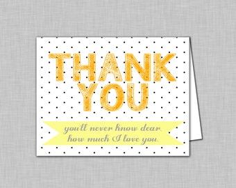 Gray & Yellow Sunshine Thank you Card