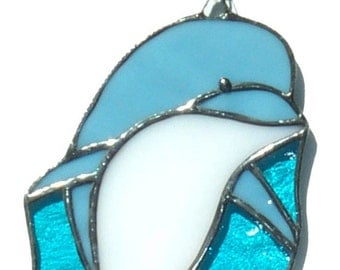 Stained glass dolphin suncatcher