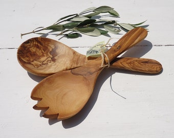 Hand made Olive Wood Salad Servers , Olive Wood Spoon and Fork
