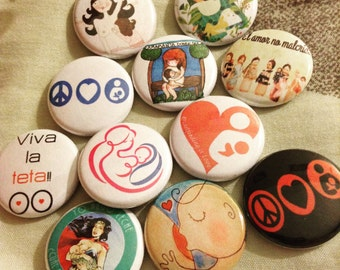 "Breastfeeding Lactancia Lactivist Apego Colecho Buttons 1"" Set"