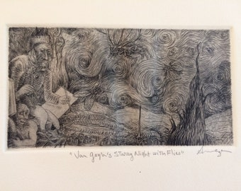 Van Gogh's Starry Night with Flies- Engraving by A. Meza