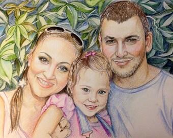 16x23 Custom portraits, Family Portrait, art, artwork, drawing, gift