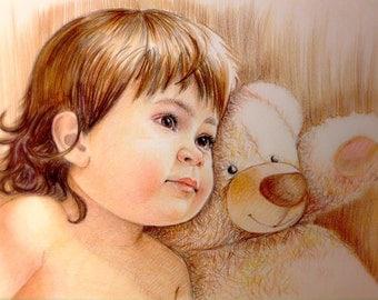 8x12 Custom portraits, pencil Portrait, custom drawing, childs portrait, drawing, art, gift, family portrait