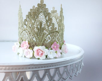 "The ""Elizabeth"" crowns - gold lace crown with pink and white flower border"