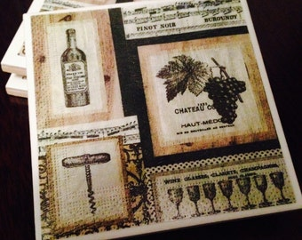 Vintage Wine Customizable Ceramic Coasters (Set of 4)
