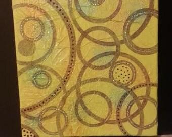 """Original Mixed Media Art - """"Circles"""" - 11"""" x 14"""""""