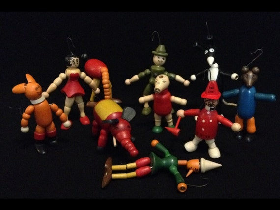 Free Shipping-Vintage-10 Piece-Jaymar Specialty Co.-Wooden-Jointed-Christmas Ornaments-Made USA-IOB
