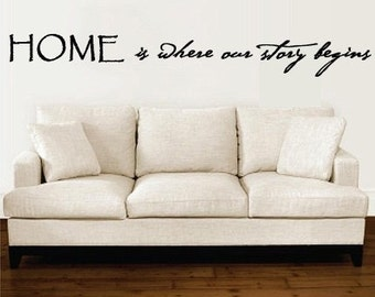 Home is where our story begins Vinyl Wall Art Quote 5 FEET WIDE X Large