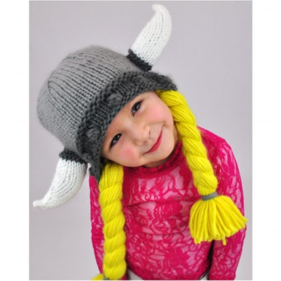 Girls Viking Hat Knit Beanie by NeonEaters on Etsy