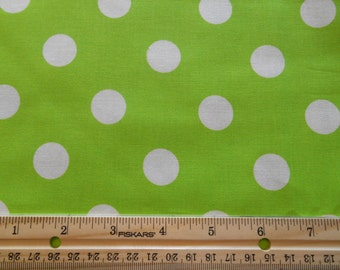 Lime green with White Dots cotton fabric by the yard
