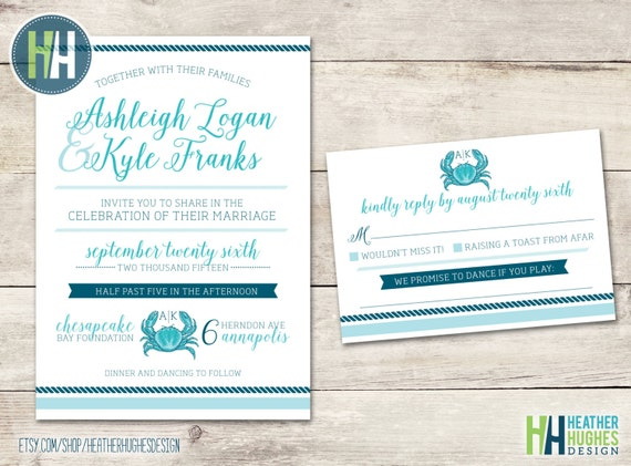 Wedding Invitations In Maryland: Nautical Wedding Invitation With RSVP Card Printable Invite