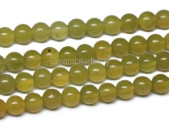 Olive Jade Beads, Natural Smooth Round Olive Jade Stone Beads, 6mm 8mm Olive Jade Strand, Olive Gemstone Beads for Jewelry Making (B52)