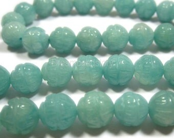 Necklace Beads, Loose Beads for Necklace Making, Gemstone Beads to Make Jewelry, 8 10mm Natural Amazonite Carved Lotus Flower Beads (Y79)