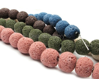 Lava Rock Beads, Round Lava Rock, Volcanic Lava Rock Stone Beads, Multi Color Beads for Jewery Making