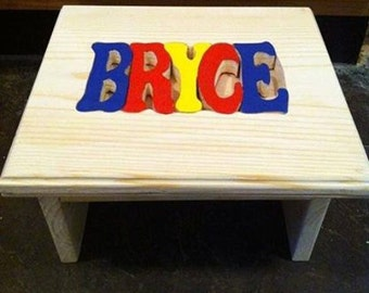 custom wooden personalized  puzzle stools