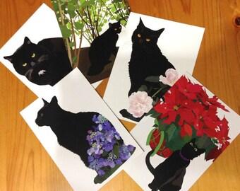 Black cat  postcard set of 5/Cat Illustration