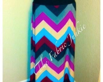 Chevron maxi skirt long comfy yoga waist