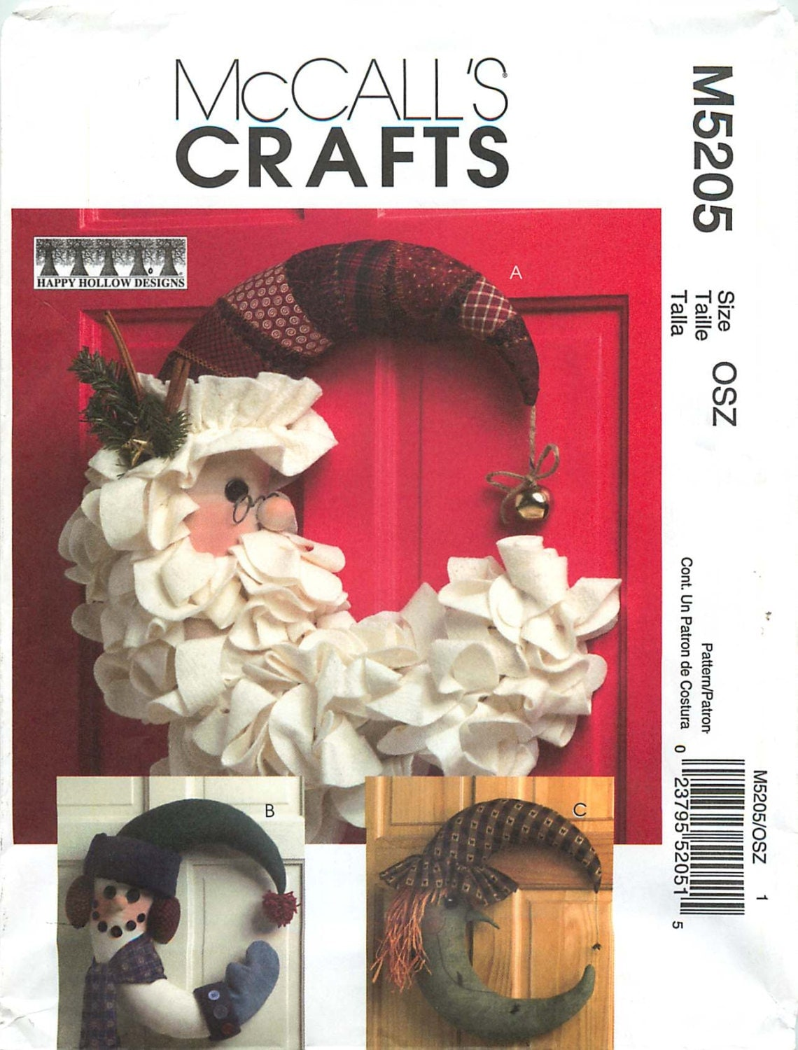 Mccall S Crafts M5205 Sewing Pattern Santa Snowman And