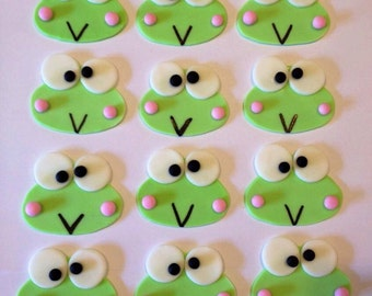 12 Fondant Keroppi the frog toppers