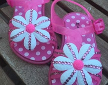 Size 4 (euro 20) Baby Jelly Sandals Pink Diamonte Crystal Gem Covered Shoes