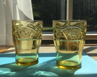 "A set of 2, Rosemary, Golden Glow ""Dutch Rose"" Tumblers from 1930's Federal Glass Co."