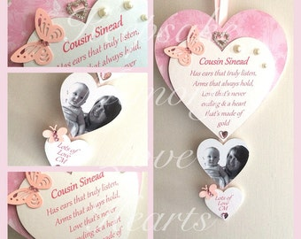 Cousin gift personalised wooden keepsake heart