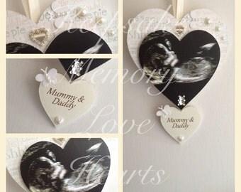 Baby ultrasound scan wooden keepsake heart baby shower gift in pink, blue or cream
