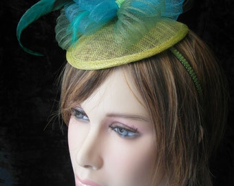 Green fascinator - green Bibi