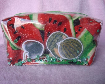 Co1【WATER MELON COLLECTION】Glitter clear pastic water melon printed cotton fabric pouch, Cute pencil case, make up pouch,Kawaii, pouch, gift