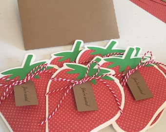 Strawberry Invitations/Cards - 6 count - Envelopes included