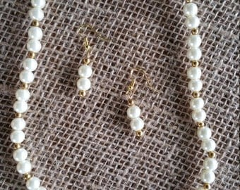 Gold and Ivory Pearl Necklace and Earring Set
