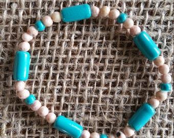 Blue and Tan Bracelet