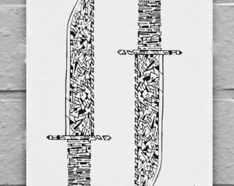 abstract black and white rambo knives