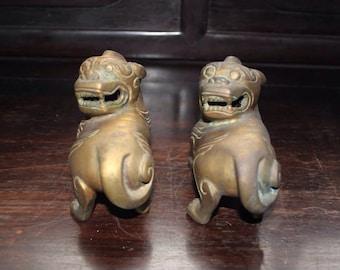 The vintage bronze lion (a pair)