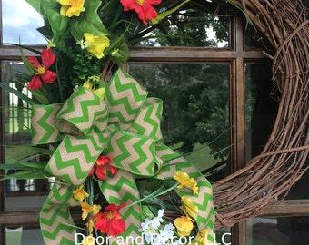 """Daisy Poppy Grapevine Wreath 24"""""""